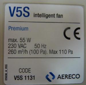 Aereco MEV fan label