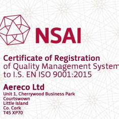 aereco iso 9001 2015 certificate